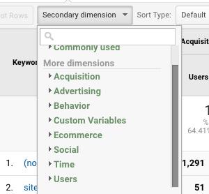 google analytics secondary dimension options