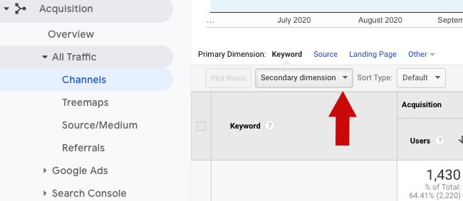 google analytics secondary dimension