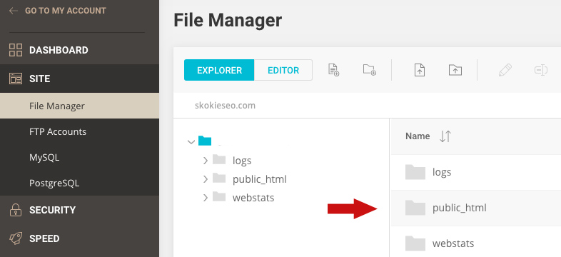 siteground file manager