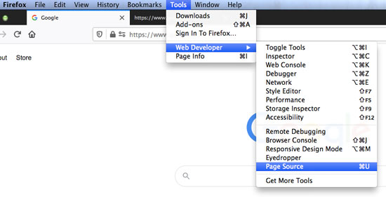 firefox view page source